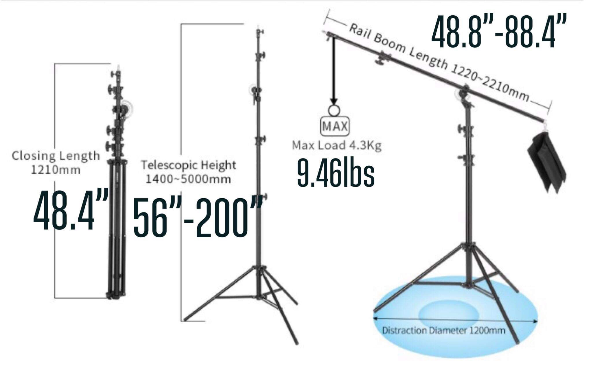 MoBoom 2in1 Portable Boomed Lightstand