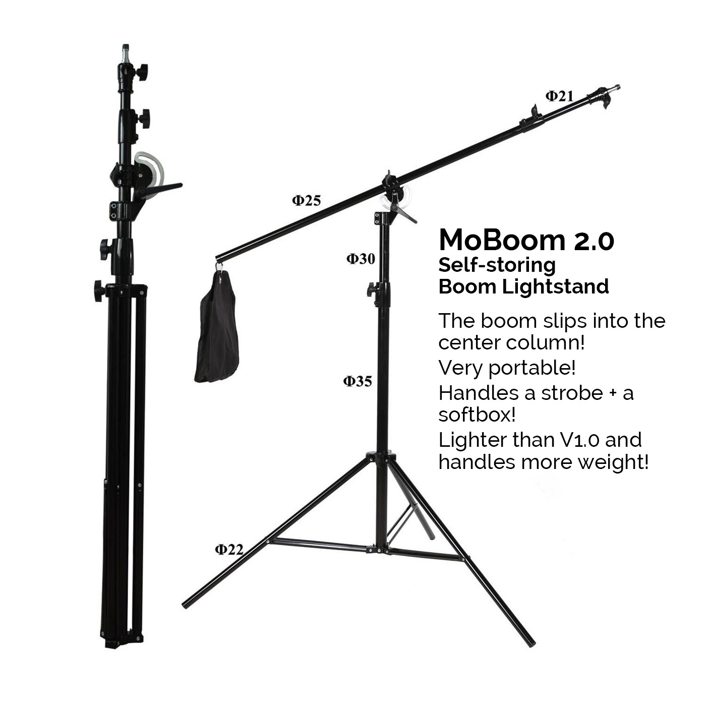 MoBoom 2.0 2in1 Portable Boomed Lightstand