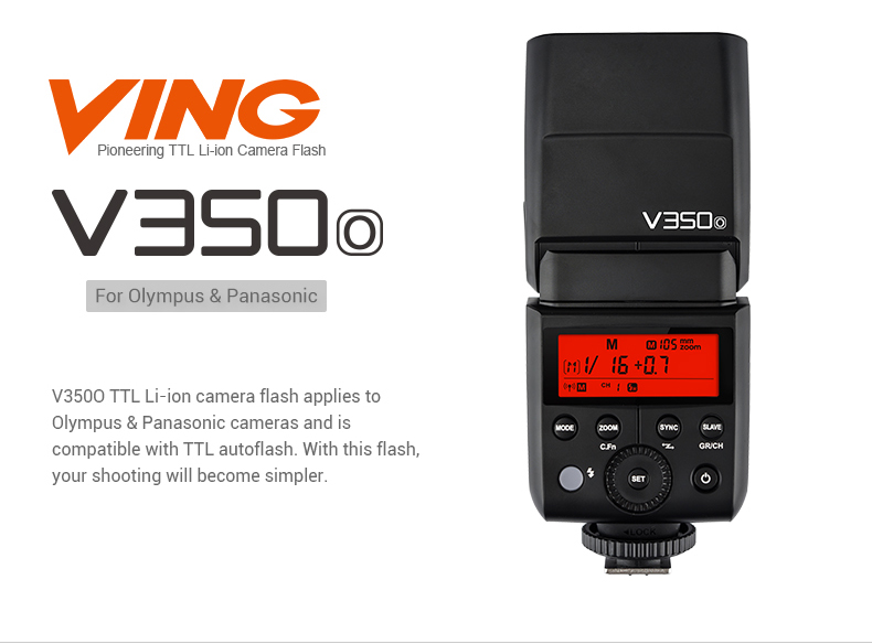 V350 Mini Lithium Ion Speedlight OLYMPUS/PANASONIC